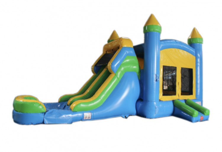 28' Blue & Yellow Bounce House (DRY) Slide Combo